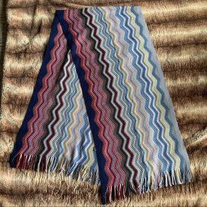 Missoni Multi-colour Zig Zag Stripe Fringe Scarf